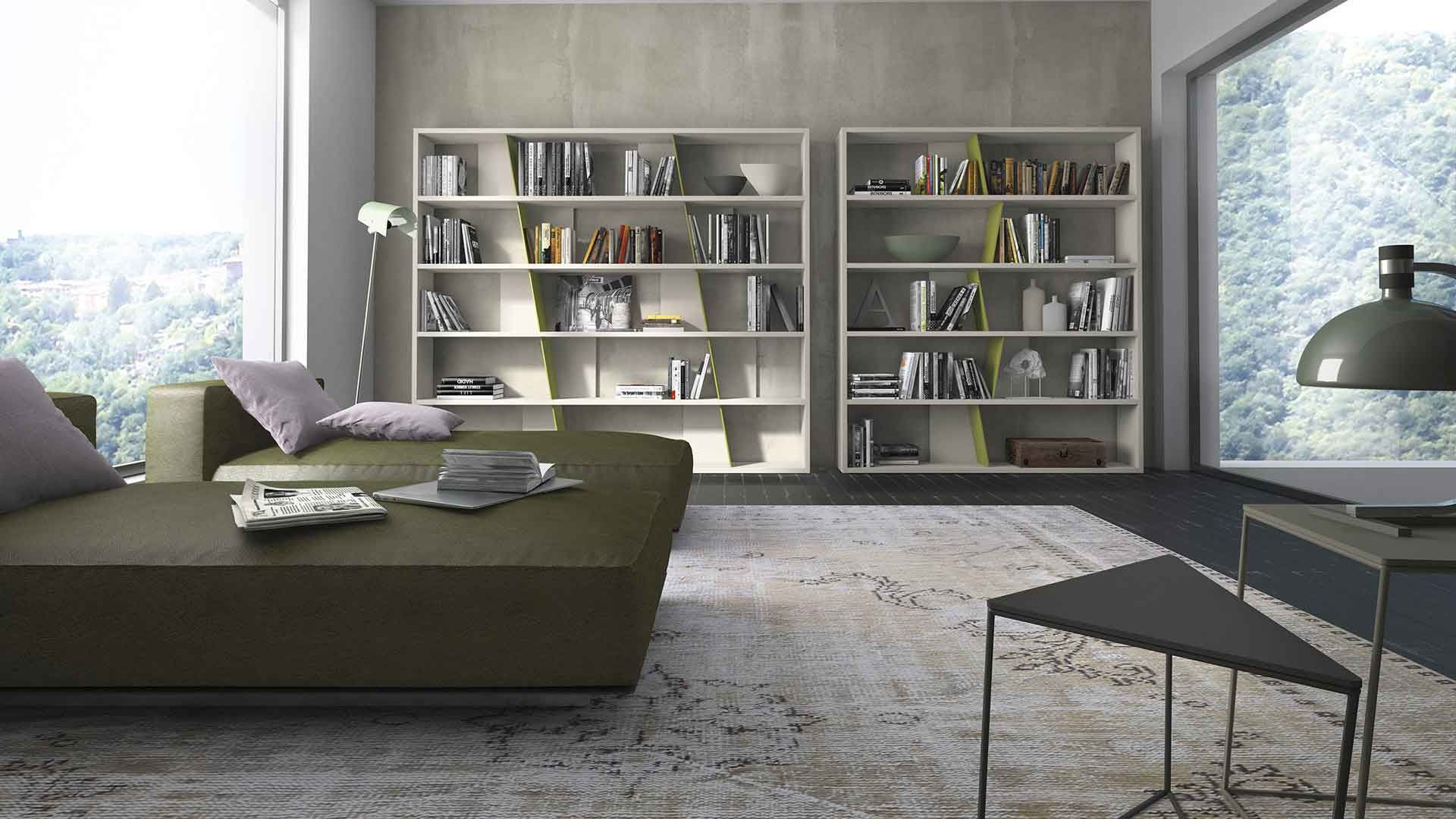 PRESOTTO | CrossART bookcases with beige seta matt lacquered ...