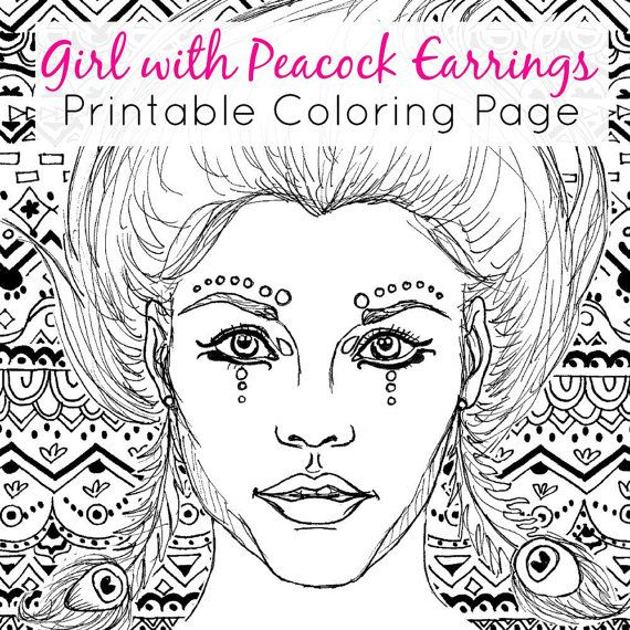 downloadable and printable coloring page girl with