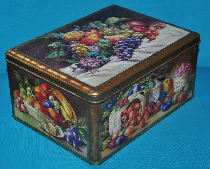 blik doos koektrommel fruit tin box THORNES TOFFE england 1940s