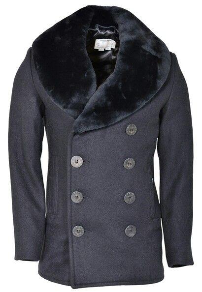 genuine Pea with NY Navy Coat collar New Schott mouton sheepskin ZIqBFwxF