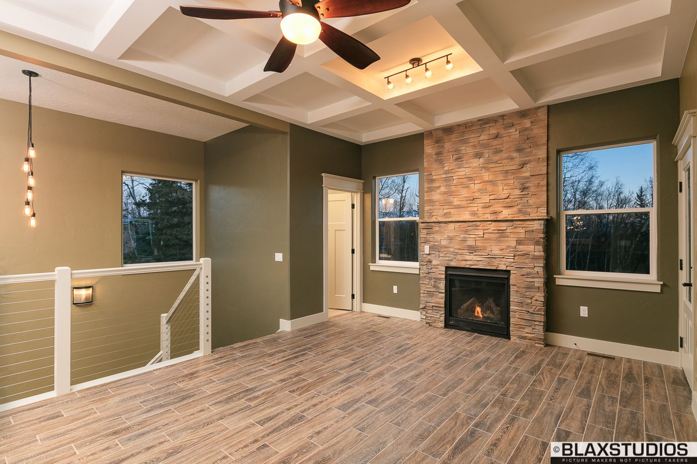 home ambient lighting. Stone Fireplace, Grid Ceiling, And Ambient Lighting. Home Lighting