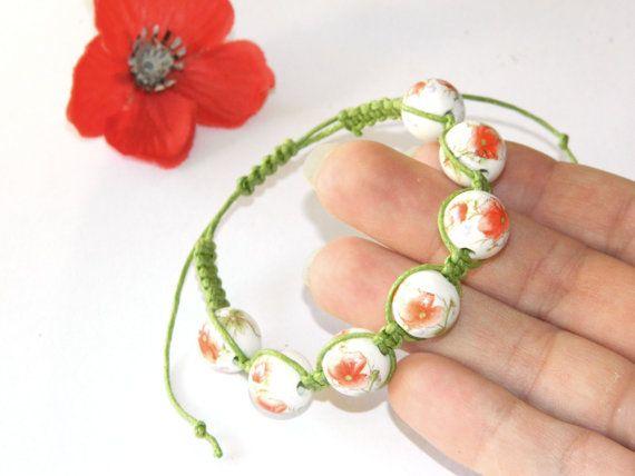 Poppy braceletFlower BraceletMacrame braceletCord by YarinkaHobbie, $12.90