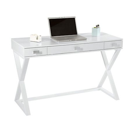 See Jane Work Kate Writing Desk 30 H X 47 14 W X 23 58 D White By Office  Depot   Would Love A Desk Like This For My Planner/vanity Area