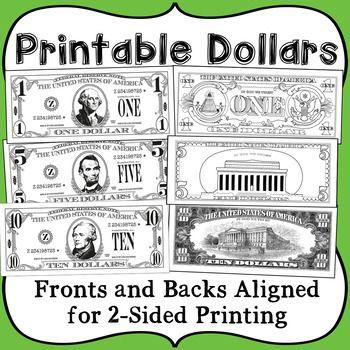 Printable Play Money   Social Studies Activities   Dollar money