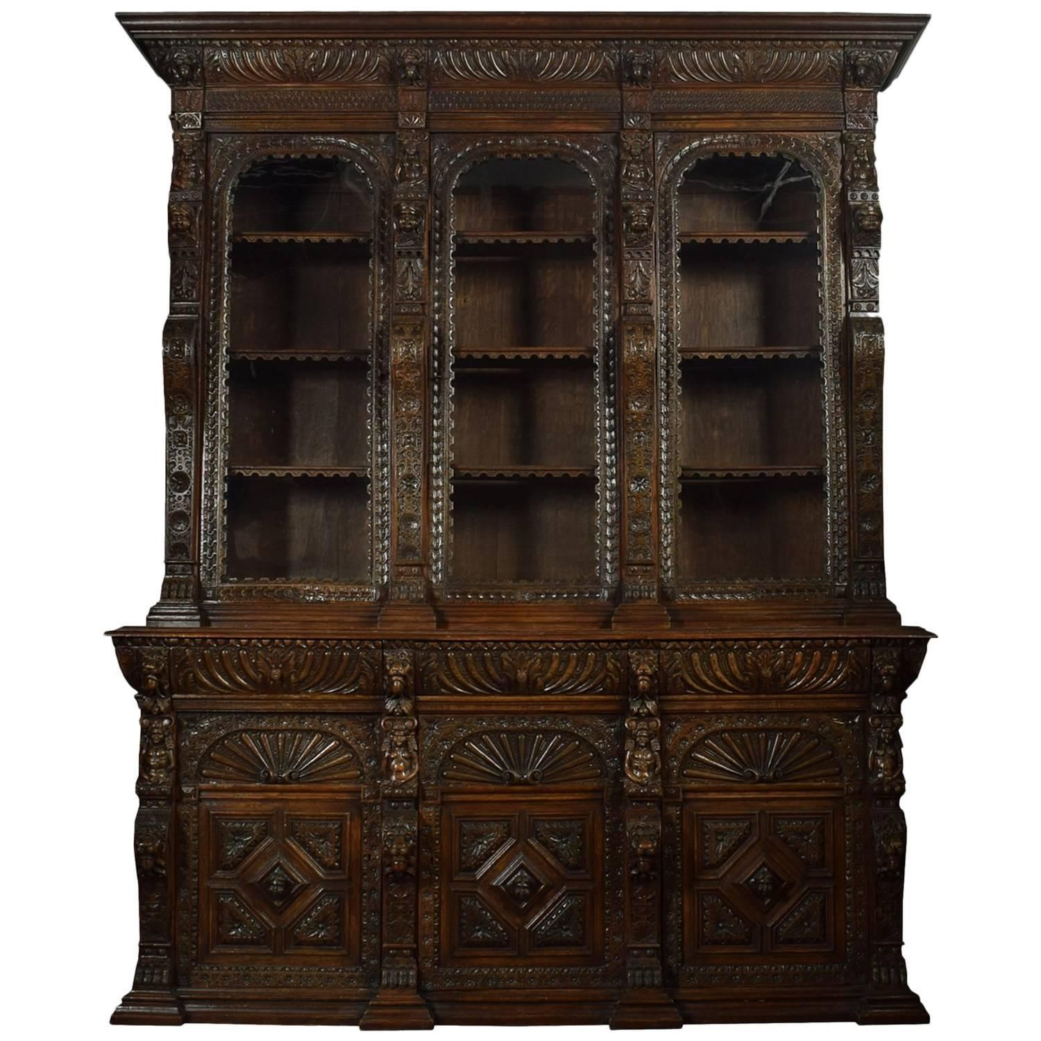 Large Renaissance Revival Carved Oak ThreeDoor Bookcase