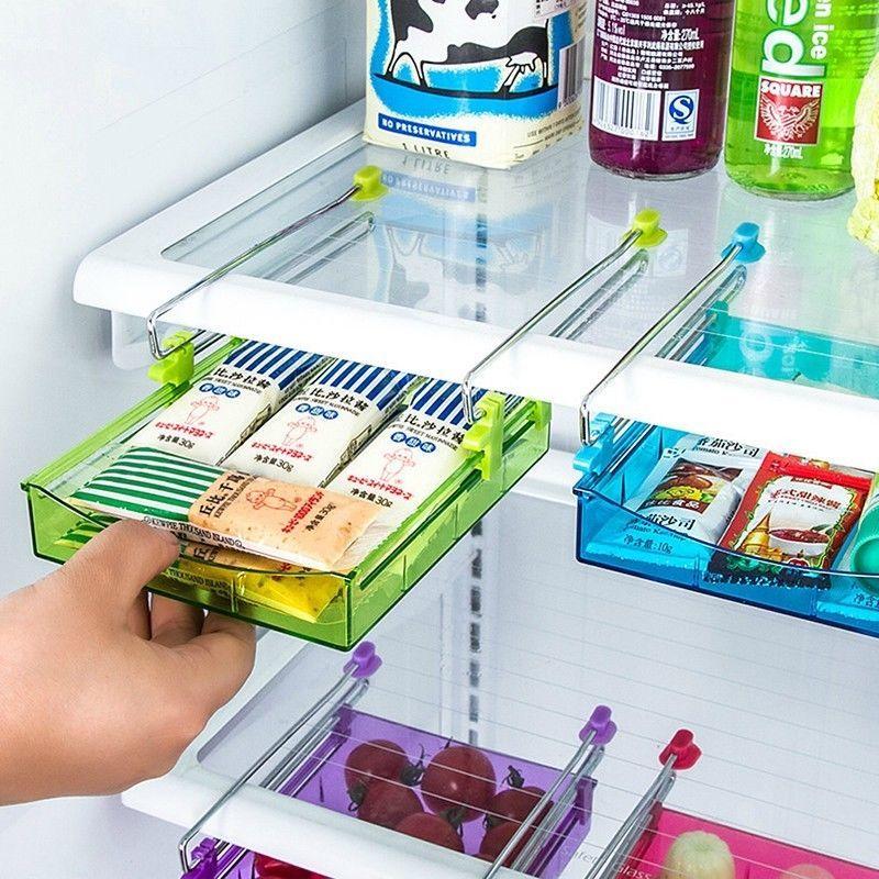 Slide Kitchen Fridge Space Freezer Organizer Saver Storage Rack