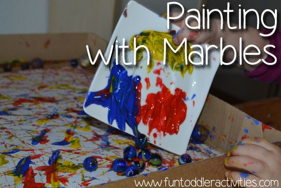 Painting With Marbles Simple Fun For Kids Preschool Activities Toddler Toddler Art Fun Activities For Toddlers