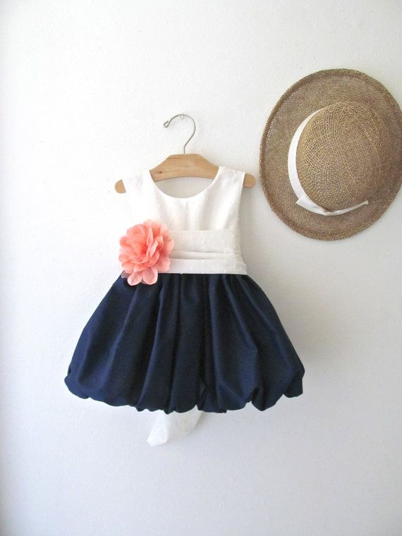 51bc3bb52 Delicate Navy and Coral Flower Girl Dress with Swiss Dot Bodice and ...