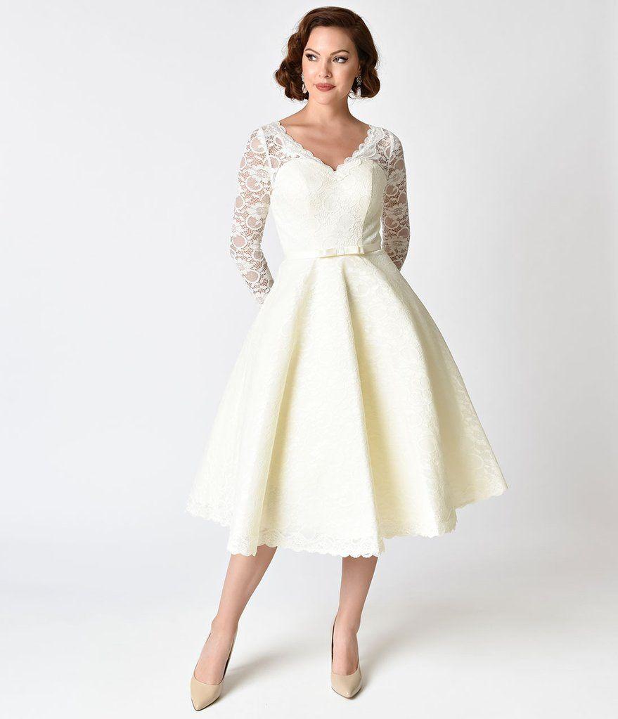 Unique Vintage 1950s Style Ivory Lace Long Sleeve Martinique Swing Dress Wedding Dresses Unique White Vintage Dress Lace Dress Vintage [ 1023 x 879 Pixel ]