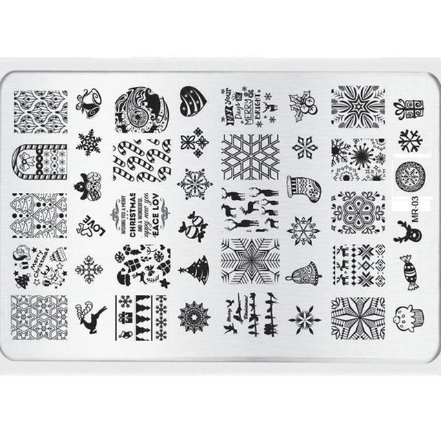 1 unidades precioso de la navidad Xmaxs acero DIY placa de la imagen del arte del clavo placas estampación sello manicura plantilla del partido # mr - 03