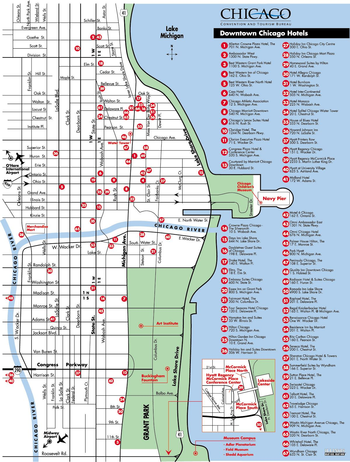 map of downtown chicago hotels Chicago Maps Fun Things
