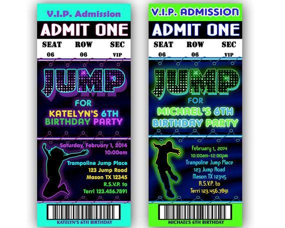 Printable Jump Birthday Invitation Trampoline Park Party Bouncey