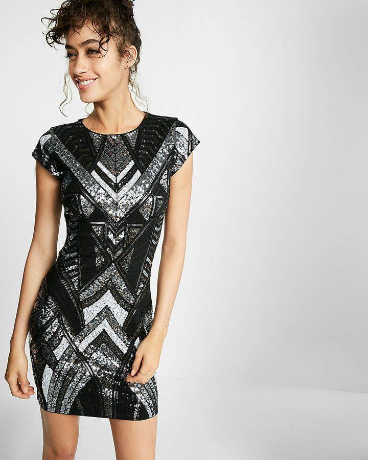 4e4de71f75f5 Express Deco Sequin Embellished Cap Sleeve Sheath Dress | High ...