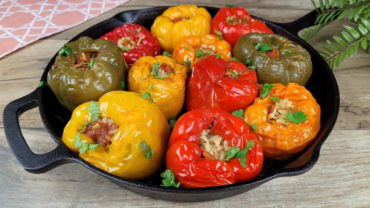 جربوا طبخة محشي الفلفل بأسهل طريقة من أشهر الوصفات اللذيذة في العالم My Stuffed Peppers Recipe Youtube Stuffed Peppers Food Vegetables