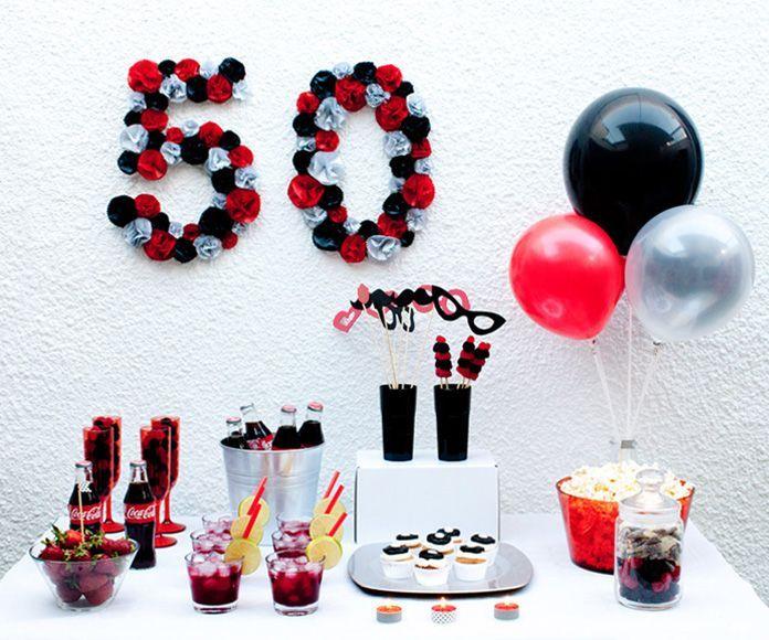 Fiesta 50 cumplea os en colores blanco negro y rojo - Fiesta cumpleanos adulto ...