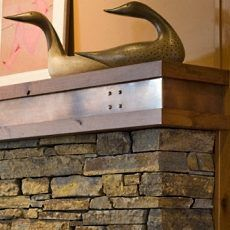 Craftsman fireplace mantle detail contemporary craftsman for Craftsman gas fireplace