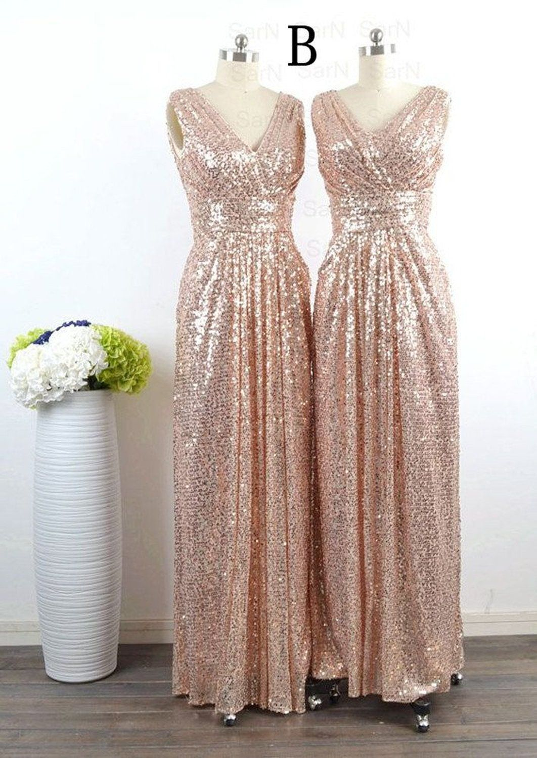 LuckyHouses Women s Rose Gold Sequins Bridesmaid Party Prom Dress ... 012835d0b5ca