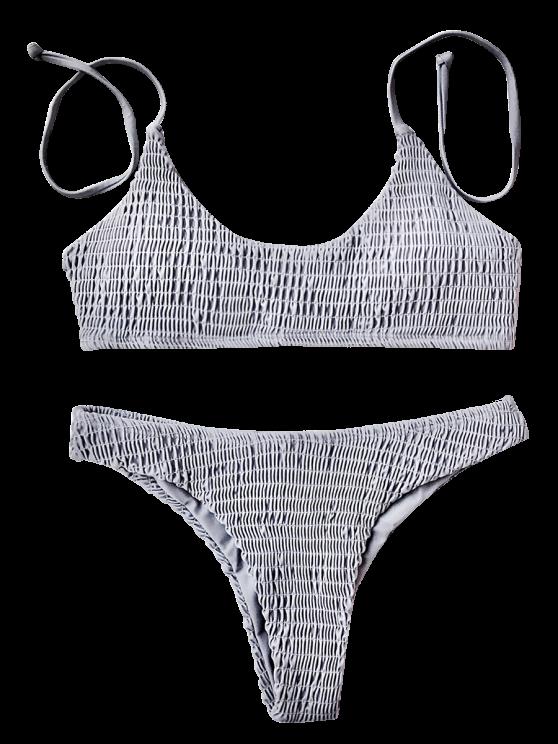 b5289dbf7e465d Padded Smocked Bralette Bikini Set - GRAY S