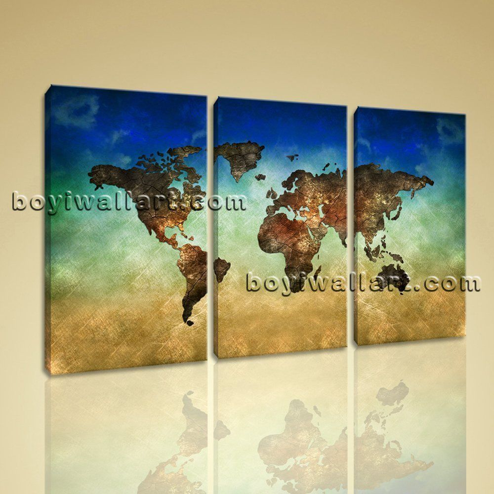 Large World Map Other Retro Print On Canvas Wall Art Bedroom ...