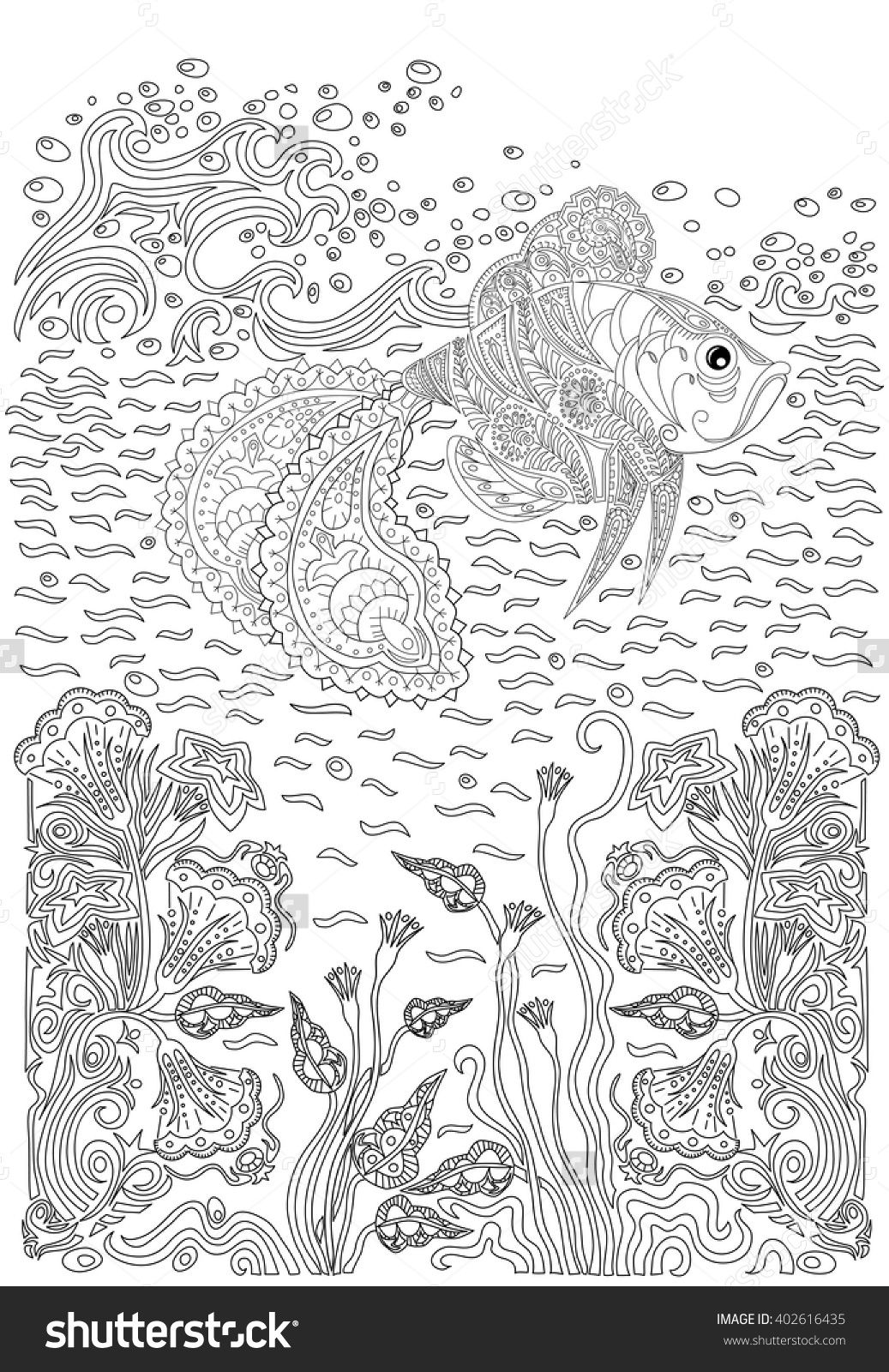 Fish In Waves And Seaweed Coloring Page Zentangle 402616435 Shutterstock