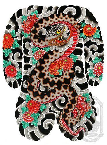orochi to kiku by david ramirez la cobra negra tattoo art gallery hinh xăm nhật hinh xăm thiết kế hinh xăm orochi to kiku by david ramirez la