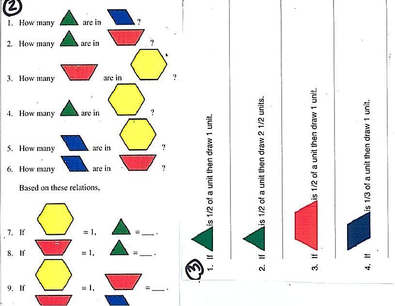 Fractions With Pattern Blocks Jpg 816 632 Pixels 1st Grade Math Worksheets Math Fractions 1st Grade Math Pattern block fraction worksheets