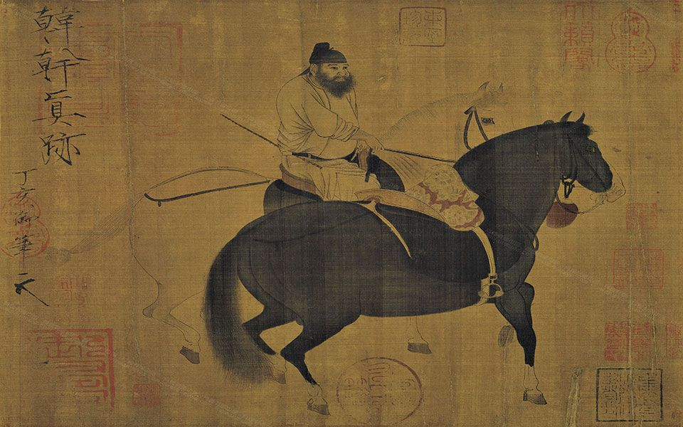 Chinese antiuqe painting on silk Mythical steed horse by Han Gan in Tang dynasty