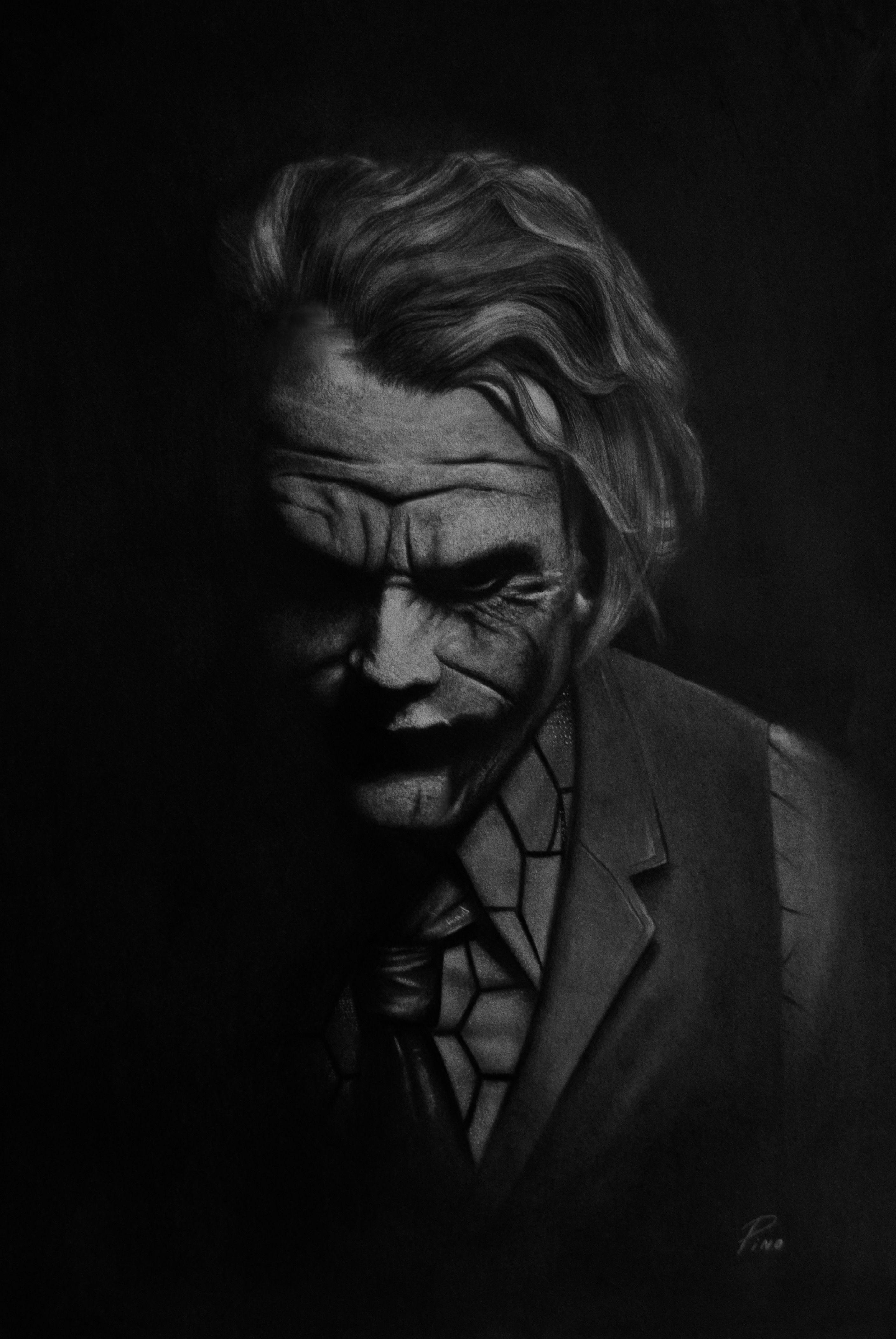 Joker Por Mi Medida 50x35 Cm Grafito Y Carbonilla En Venta Joker Dibujos Carbon