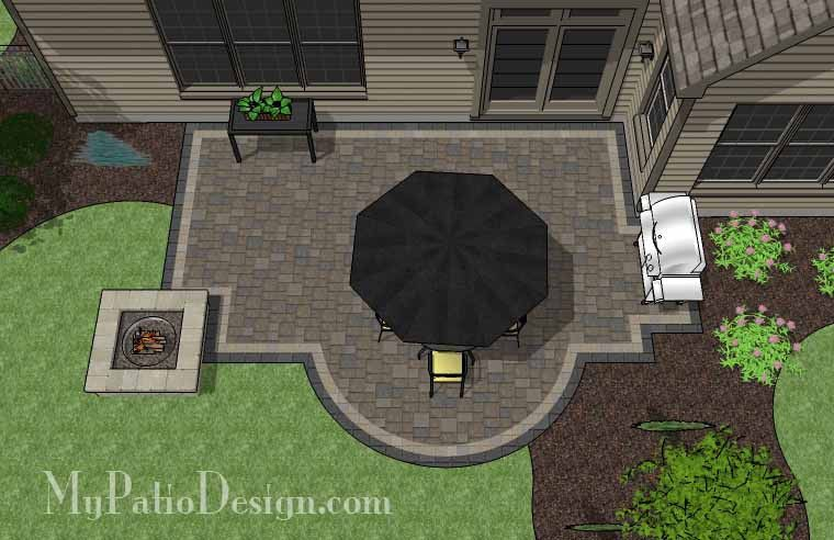 Wonderful Arc And Rectangles Patio Design With Fire Pit | 400 Sq Ft | Download  Installation Plan, How Tou0027s And Material List @Mypatiodesign.com