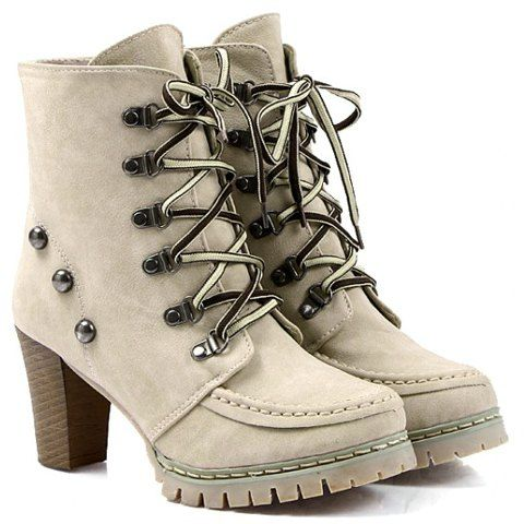 Fashion Chunky Heel Short Boots With Lace Up and Rivets