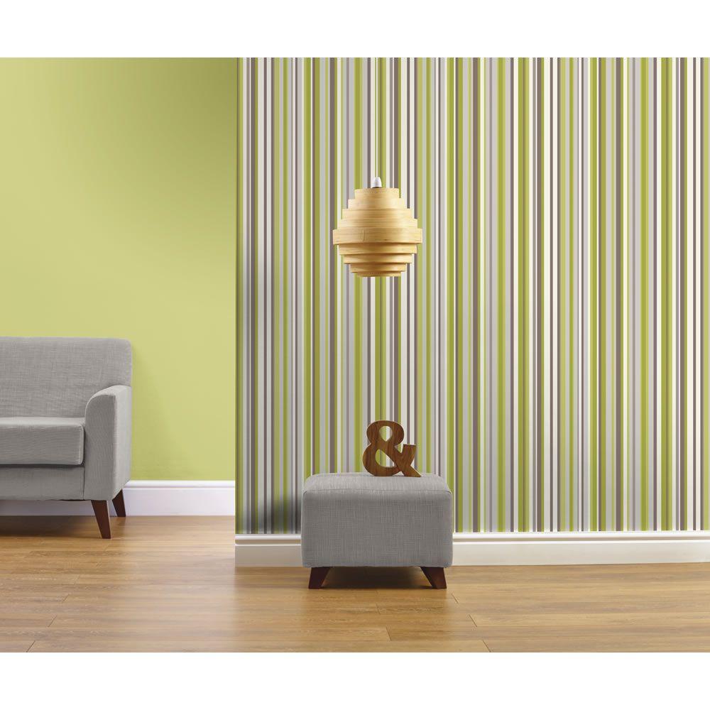 Kitchen wallpaper stripes - Arthouse Opera Sophia Stripe Textured Wallpaper Green 614803 At Wilko Com
