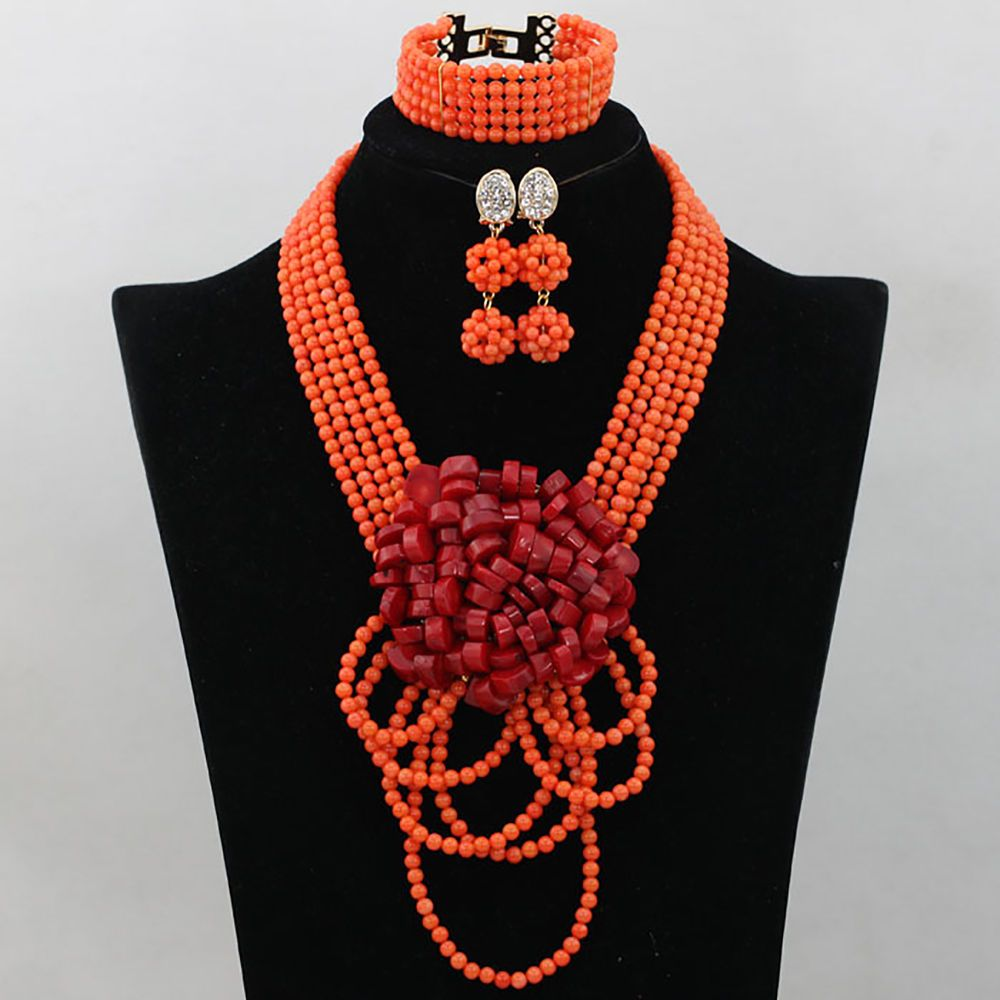 New design Coral African Nigerian Wedding Beads Necklace Bridal ...