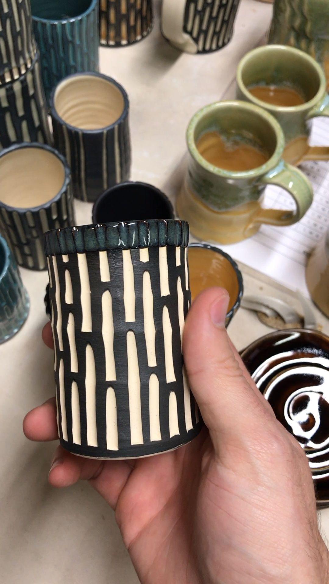 New Carved Ceramic Cups Rd Ceramics Video Ceramic Glaze Recipes Pottery Handbuilding Ceramics Pottery Vase