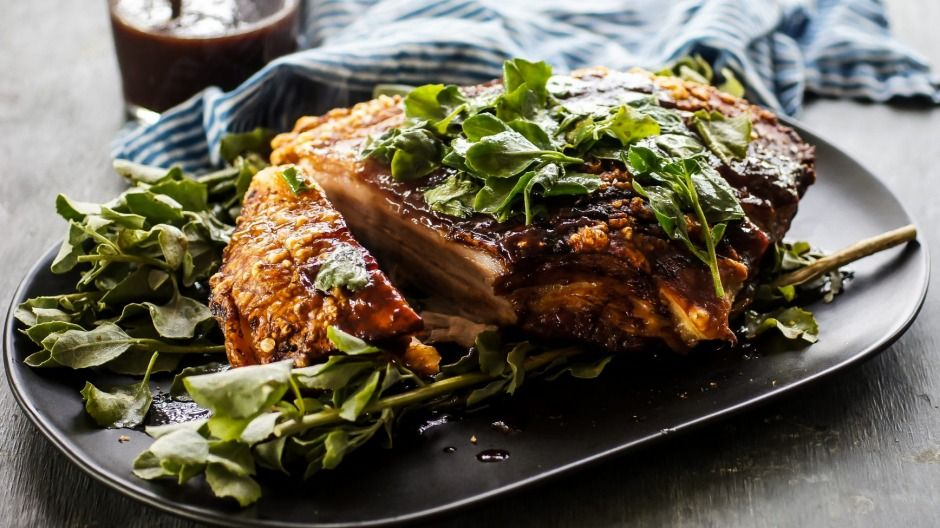 pork belly with pinot and plum sauce and saltbush  recipe