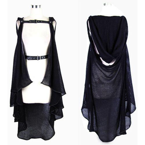 Black Hooded Gothic Fashion Sweater Poncho Scene Clothing Women SKU ...