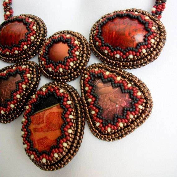 Autumn Mosaic  Beaded Statement Necklace by CindyCaraway on Etsy
