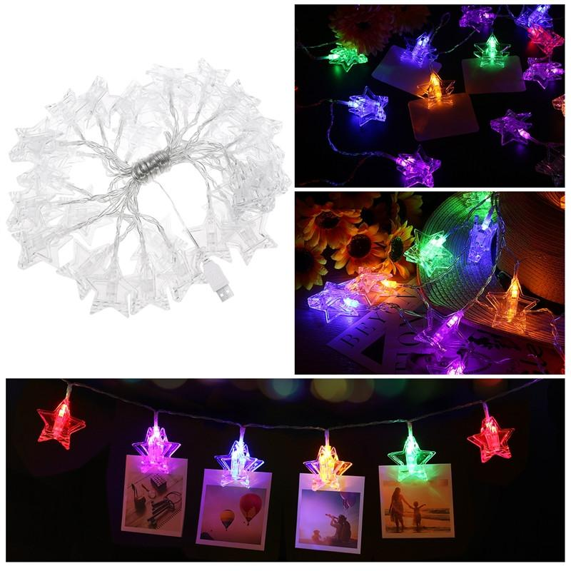 YUNLIGHTS 55M 30 LED Stars Photo Clips String Lights USB Fairy