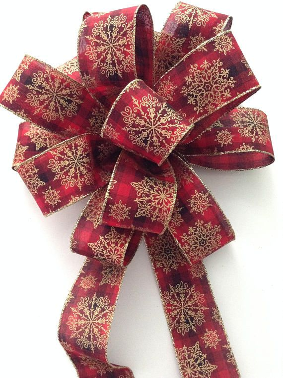 Christmas Tree Topper / Red Xmas Tree Topper / Plaid   Gold   Red And Black  Christmas Decorative Bow / Burgundy Tree Topper / Handmade