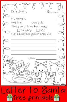 Free letter to santa printable santa free and free printable free letter to santa that kids can use to write their christmas wish list great spiritdancerdesigns Choice Image