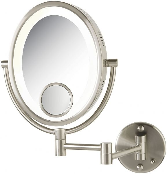 Jerdon Lighted 10x 1x Oval Wall Mount Lighted Makeup Mirror With 15x Spot Mirror Seattleluxe Com With Images Wall Mounted Makeup Mirror Lighted Wall Mirror Makeup Mirror