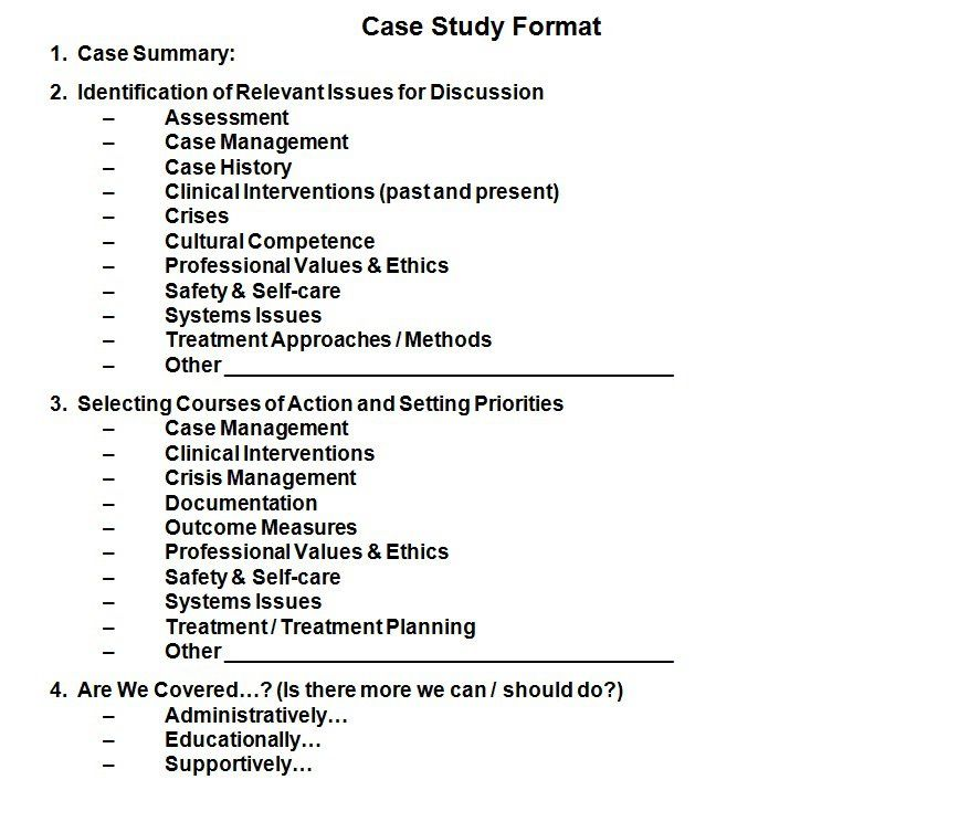 This case study format is a companion document to tracking for Social work case notes template