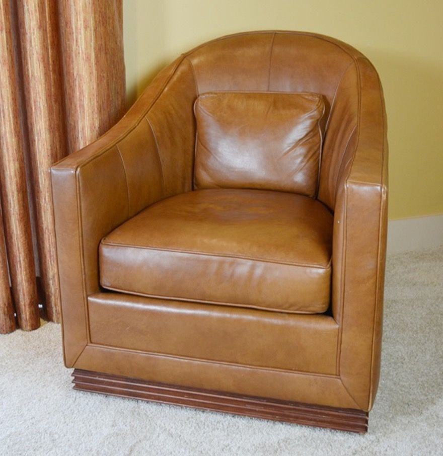 Vanguard Furniture Caramel Leather Upholstered Swivel Club