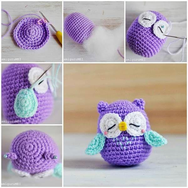 How to Make a Cute Amigurumi Crochet Owl | Tejido, Ganchillo y Llaveros