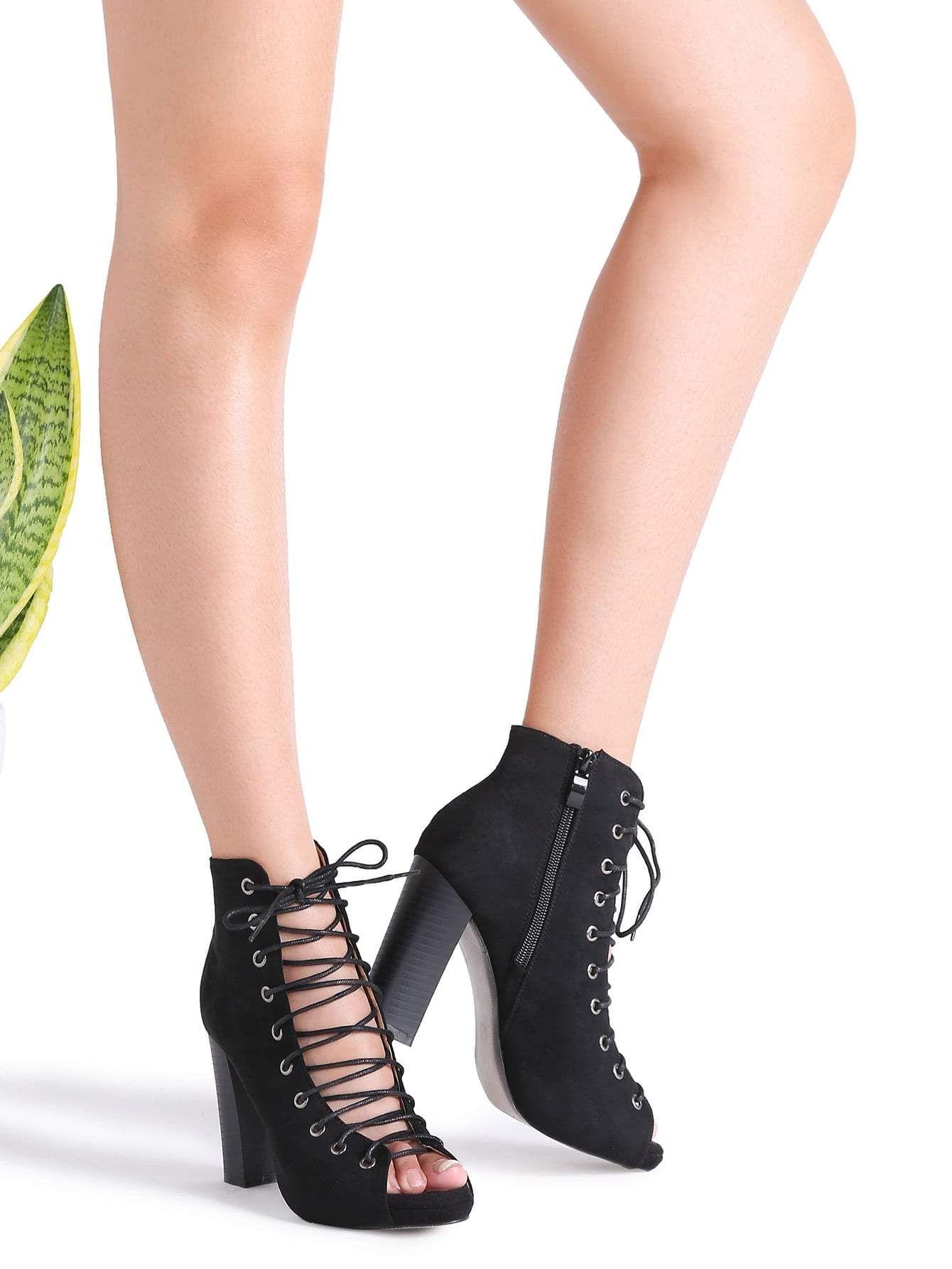 cf9e8a1e761 black cutout crisscross side zipper sandals.  heels  shoes  women  fashion