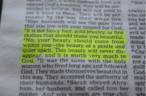1 Peter 3:3-4. Every girl should have this framed.