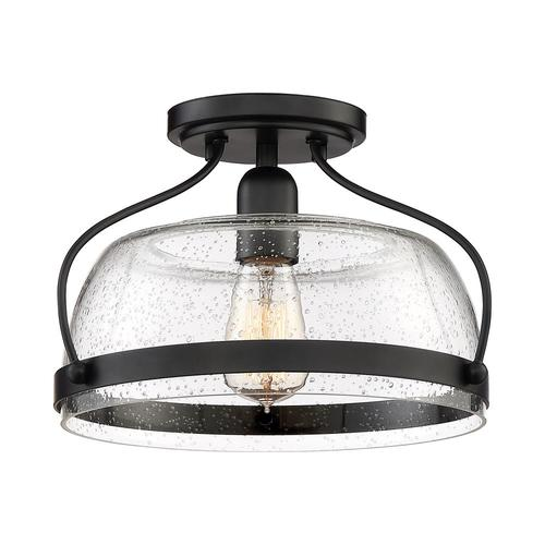 Quoizel Henderson 12.5in Black Farmhouse Semiflush Mount
