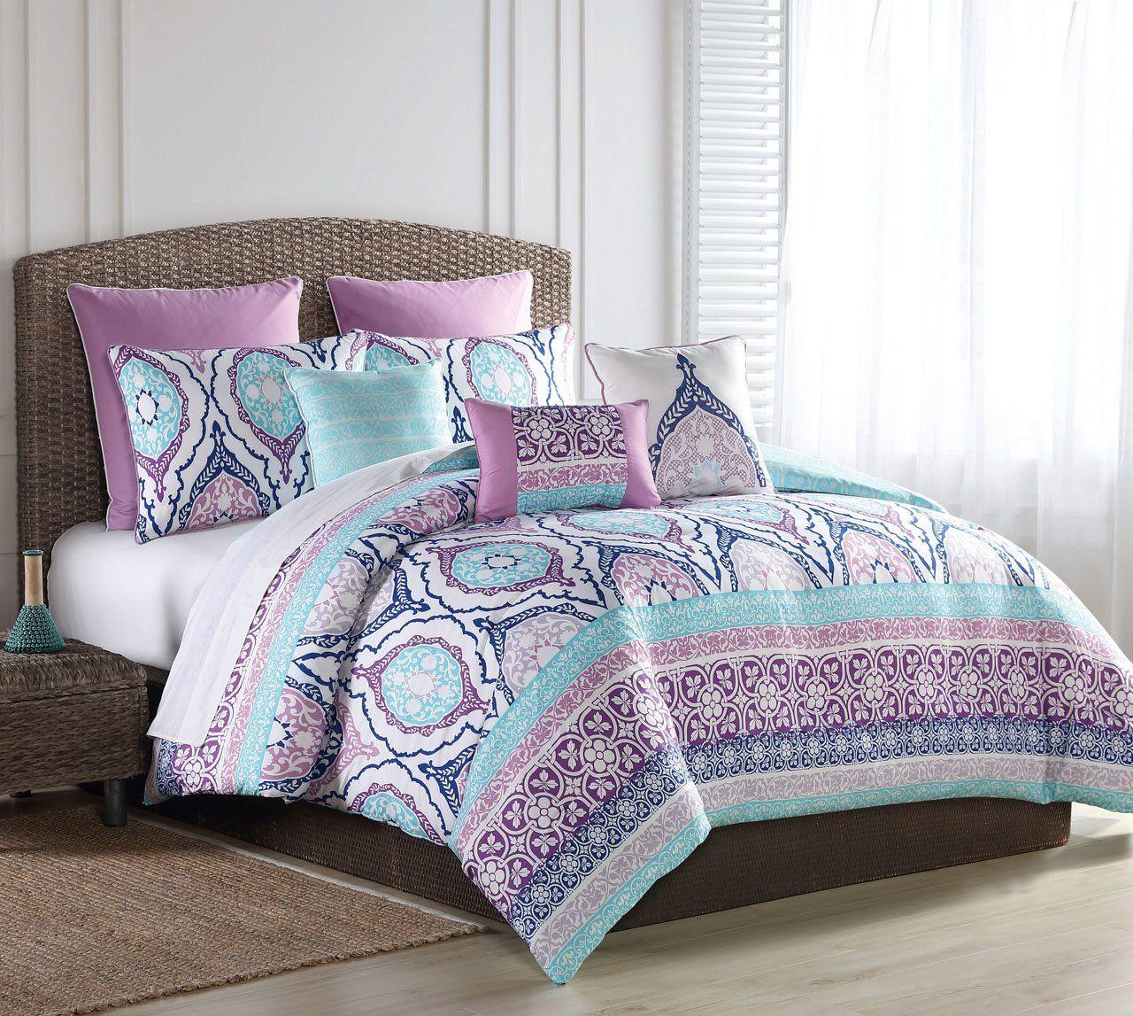 8 Piece Raquel Turquoise Purple Comforter Set With Images