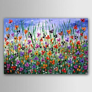 tableau toile peinture huile fleurs abstrait reproduction art moderne d co juin fleurs. Black Bedroom Furniture Sets. Home Design Ideas