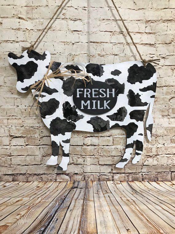 Cow Door Hanger Farm Rustic Vintage Gift Idea Wall Decor Country Farmhouse Cow Kitchen Decor Cow Decor Farm Decor
