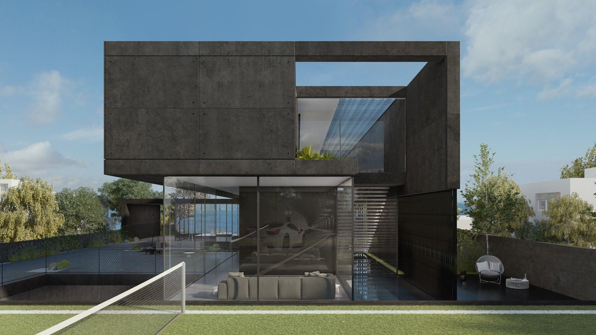Black Concrete House - Pitsou Kedem | Renderings in 2019 ...